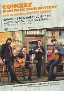"Concert: ""Irish Music from Brittany"" du groupe Poppy Seeds @ Conservatoire Maurice Ravel"